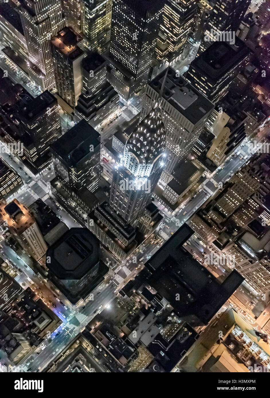Aerial view from helicopter of Midtown, Chrysler Building, New York, USA - Stock Image