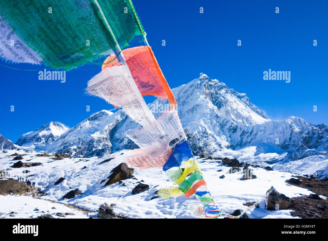 Prayer flags, Mount Everest Trek, Nepal - Stock Image