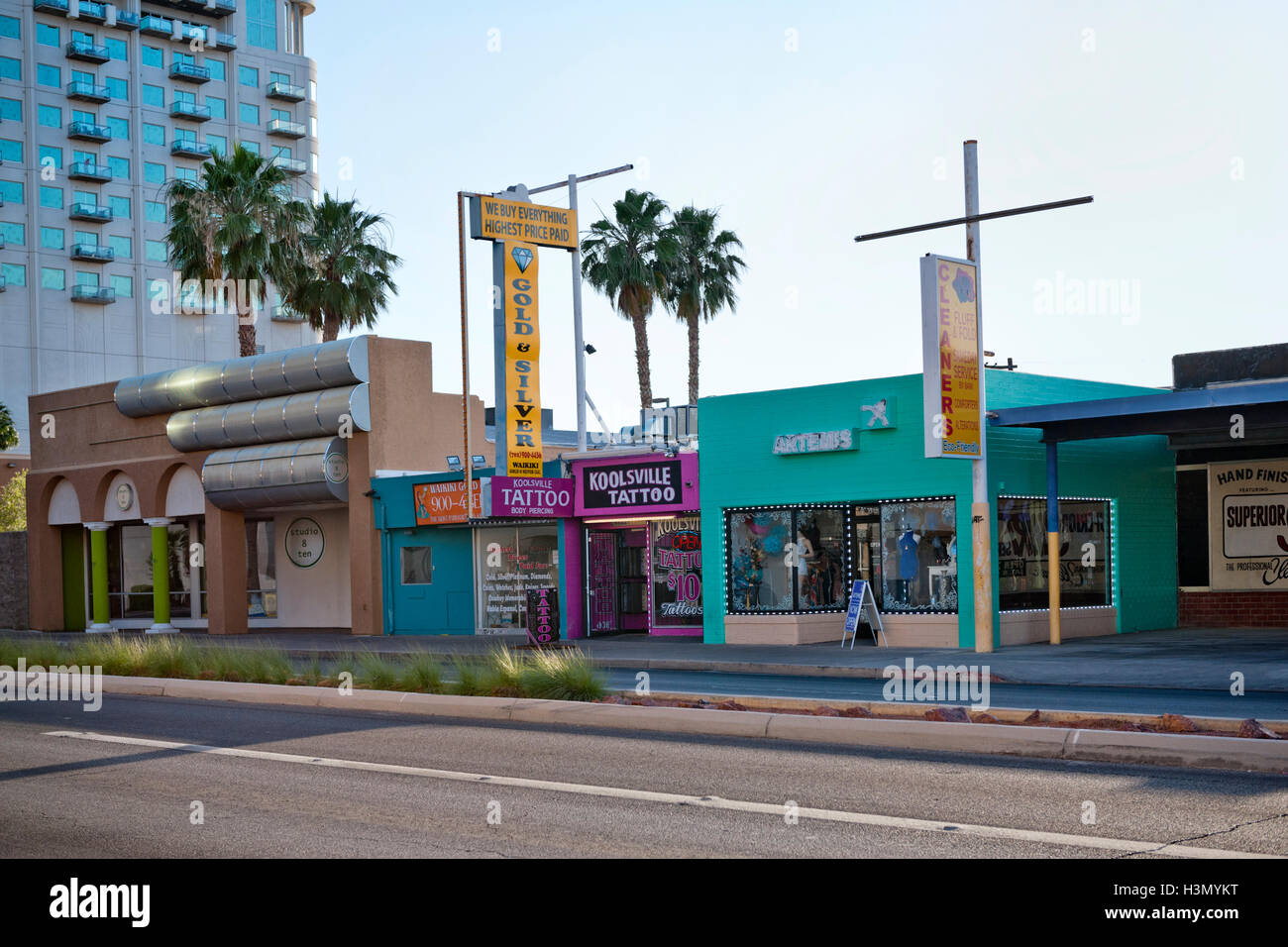 Downtown Las Vegas Nevada, Koolsville Tattoo shop and other Stock ...
