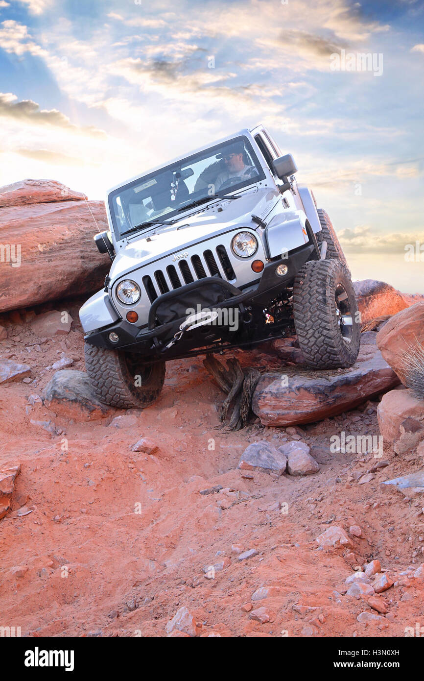 Rock Crawling In Moab Stock Photo