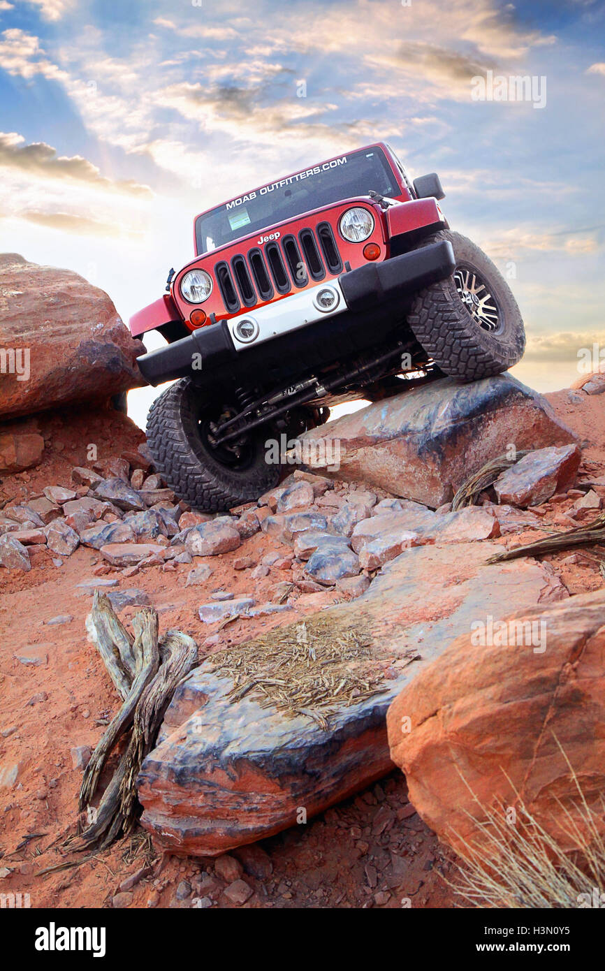 Flexing Jeep Stock Photo