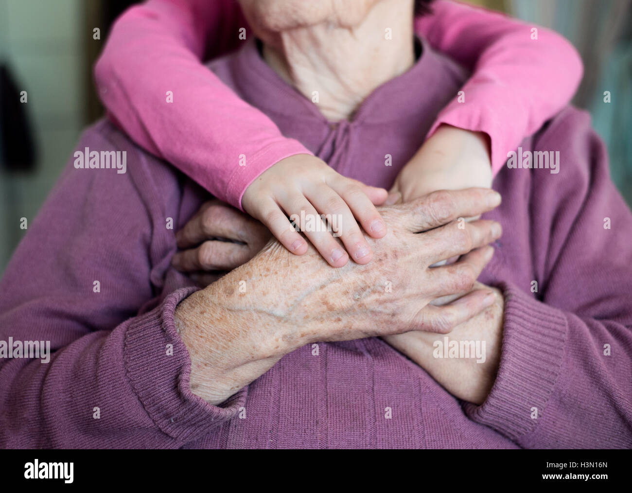 Unrecognizable granddaughter holding hands of her grandmother - Stock Image