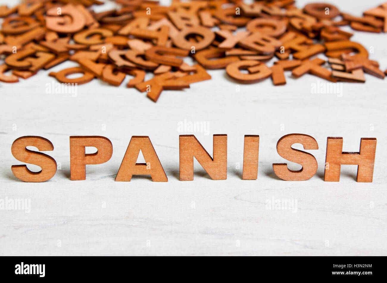 word spanish made with wooden letters on a background of other stock