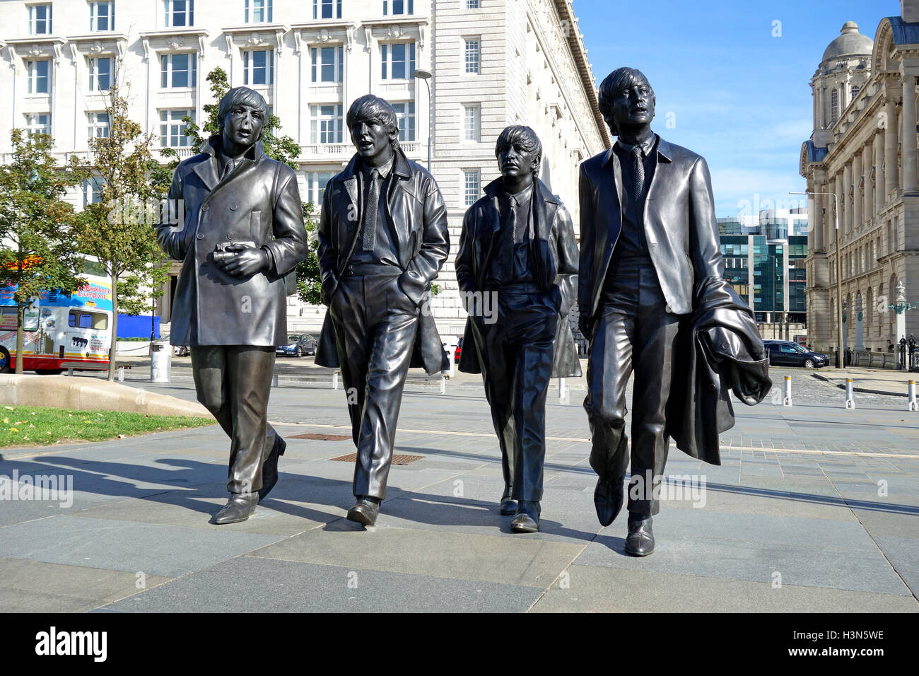 Statue of the Beatles on the waterfront in LIverpool, England, UK - Stock Image