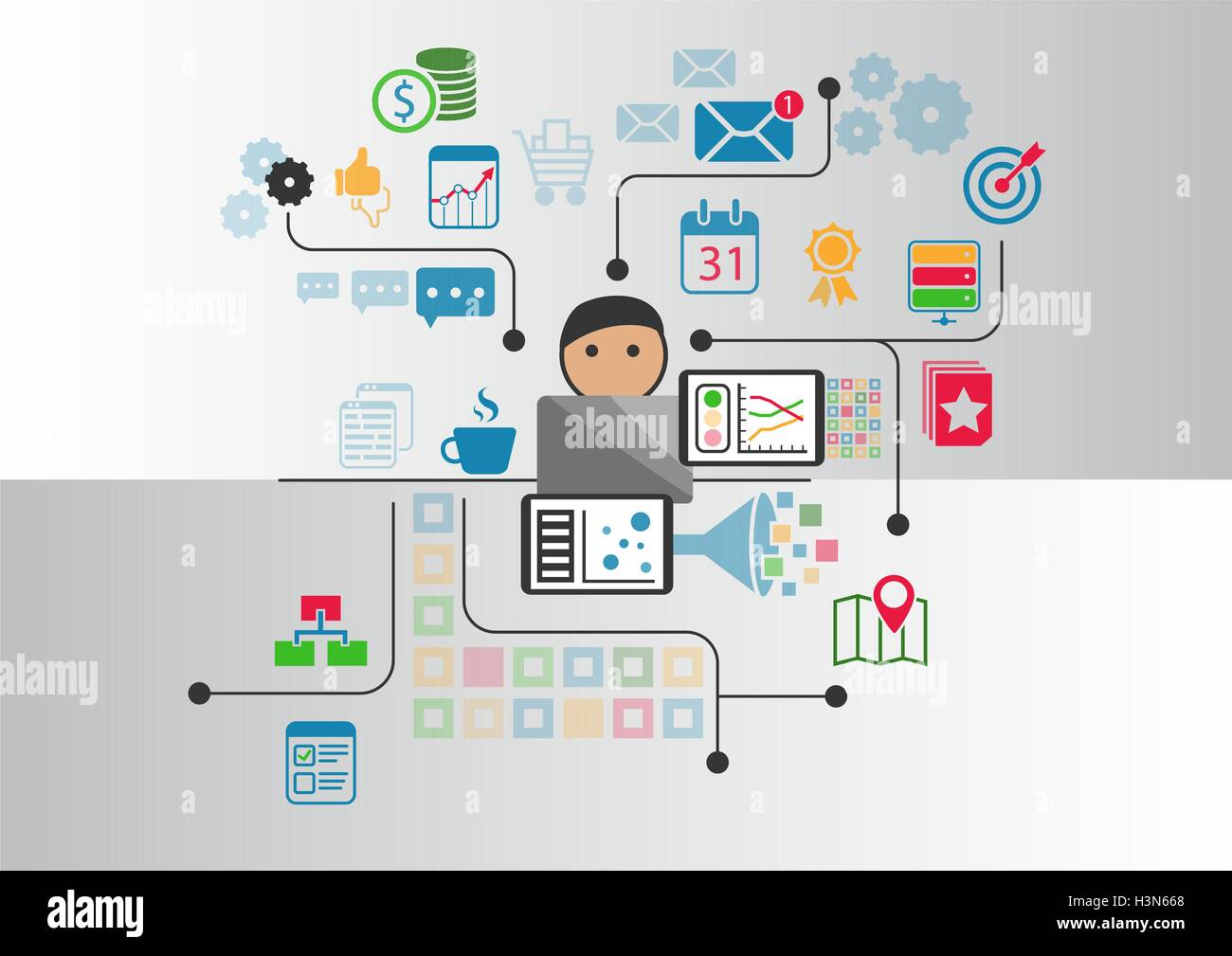 Big data, analytics and business intelligence concept. Cartoon person connected to data and information retrieved - Stock Image