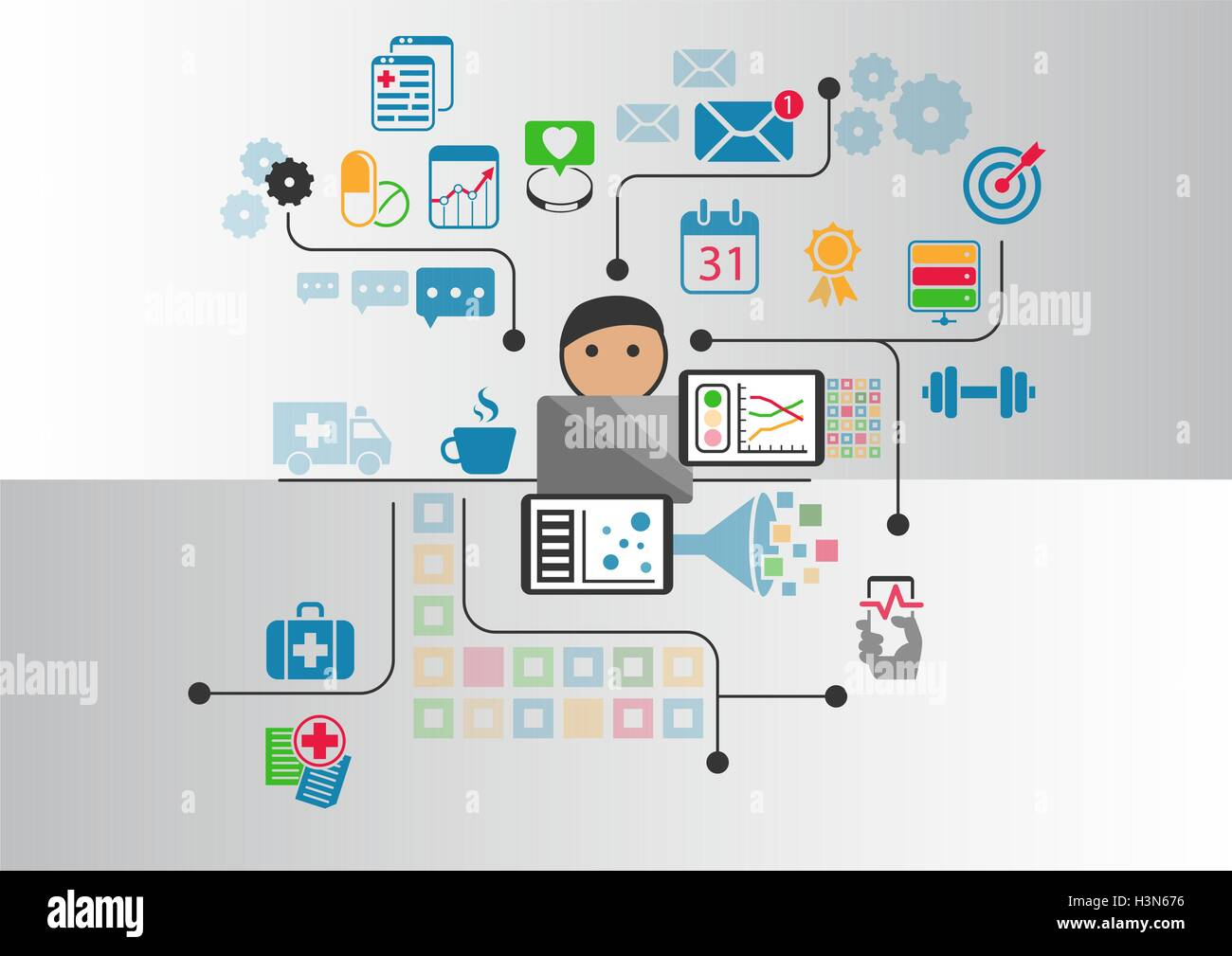 Digital e-health concept as vector illustration. Cartoon person connected to online doctor and hospital Stock Vector