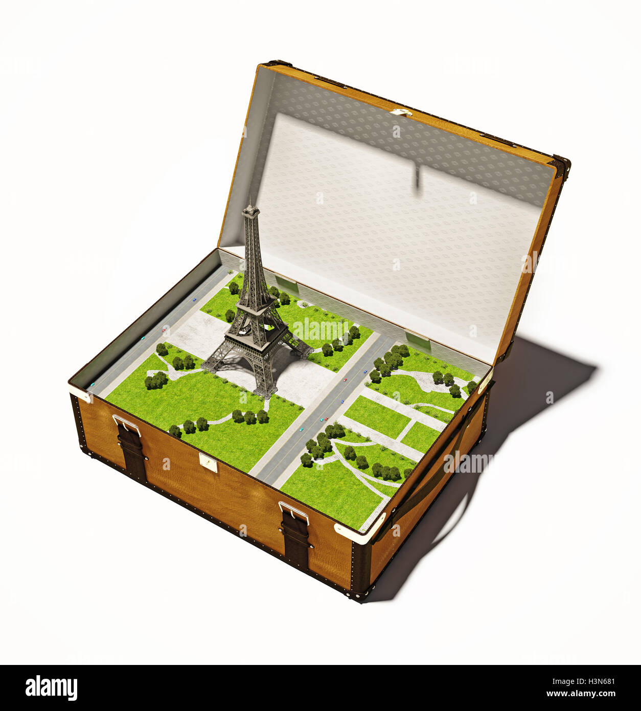 Paris in suitcase - Stock Image