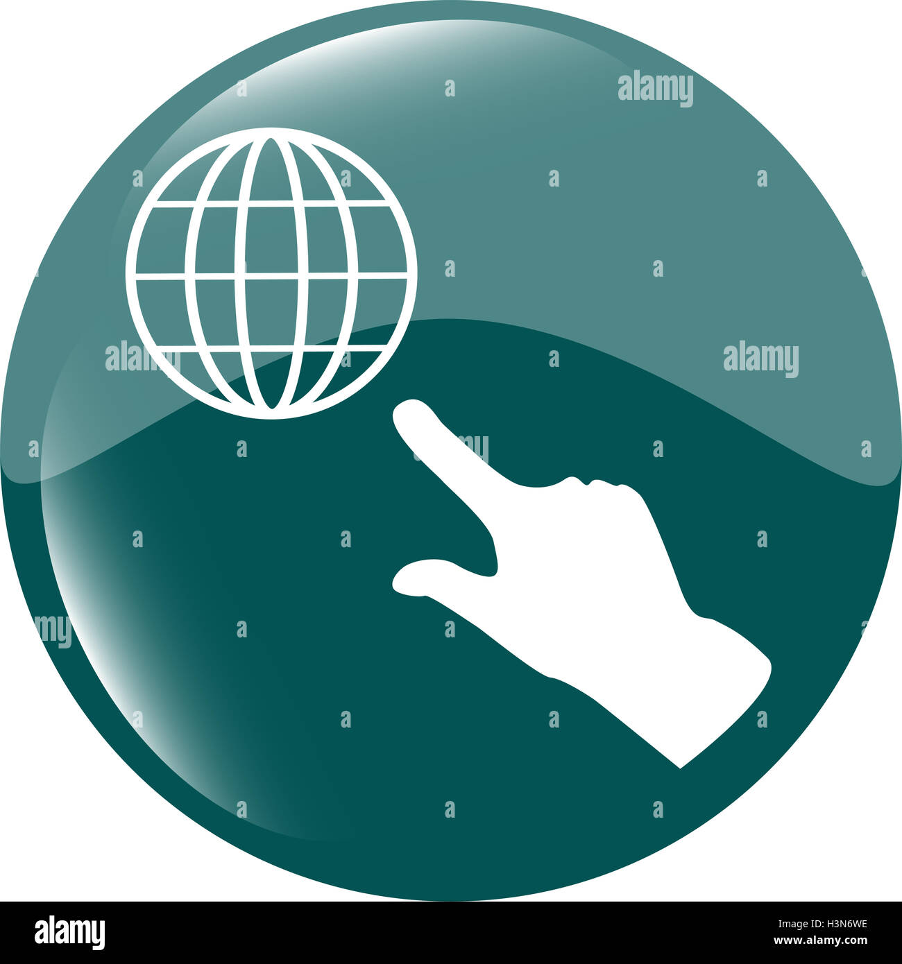 Internet sign icon with people hand. World wide web symbol. Circles buttons - Stock Image
