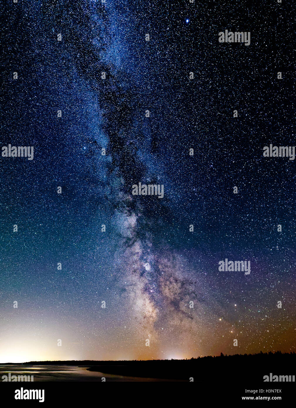 The Milky Way in dark skies in Kouchibouguac National Park in New Brunswick, Canada - Stock Image