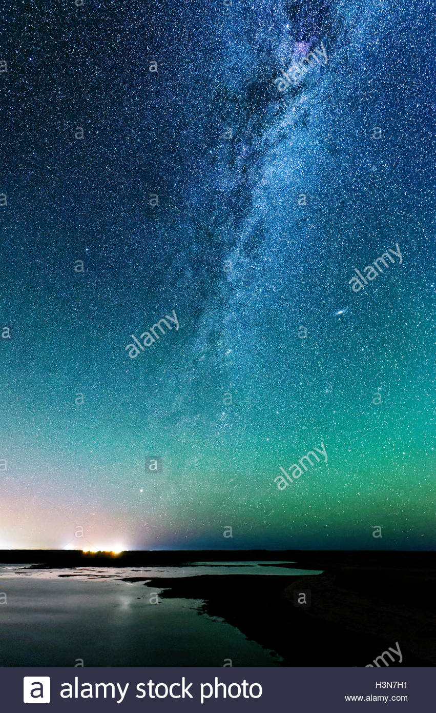 Sat Louis Lagoon and The Milky Way in dark skies in Kouchibouguac National Park in New Brunswick, Canada - Stock Image