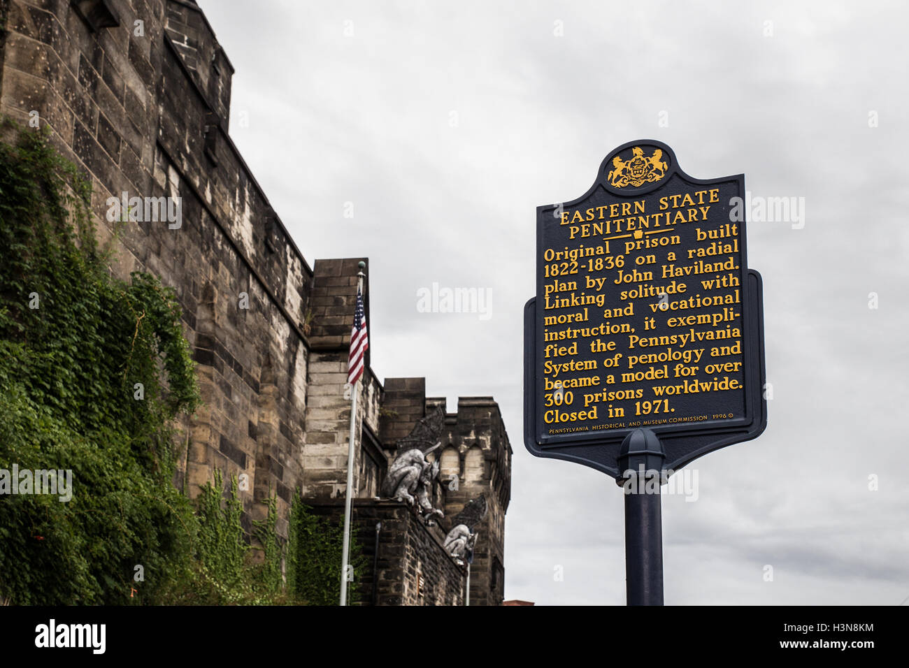 Sign marking historic Eastern State Penitentiary in Philadelphia PA - Stock Image
