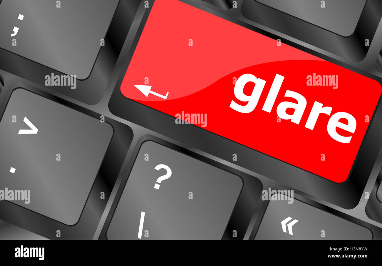 glare word on keyboard key, notebook computer button - Stock Image