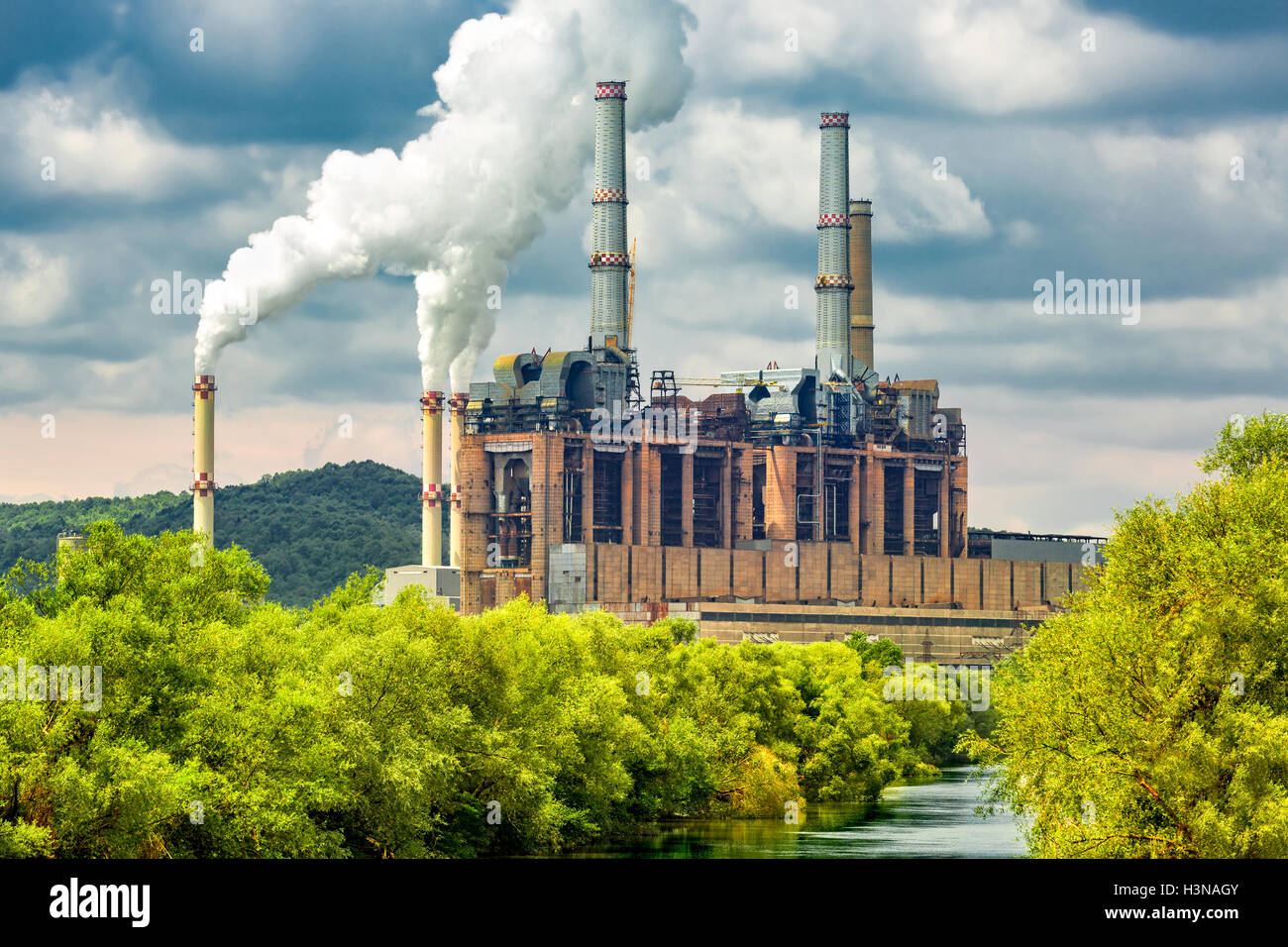 Coal power station in Gorj County, Romania - Stock Image