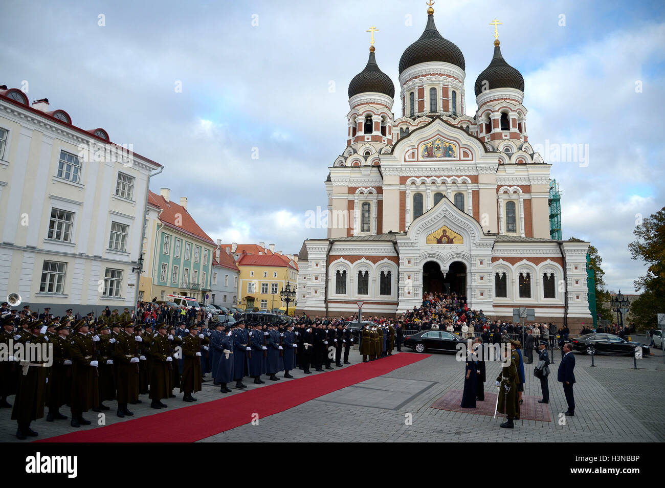 Tallinn. 10th Oct, 2016. Photo taken on Oct. 10, 2016 shows a ceremony attened by Estonia's newly-elected President - Stock Image
