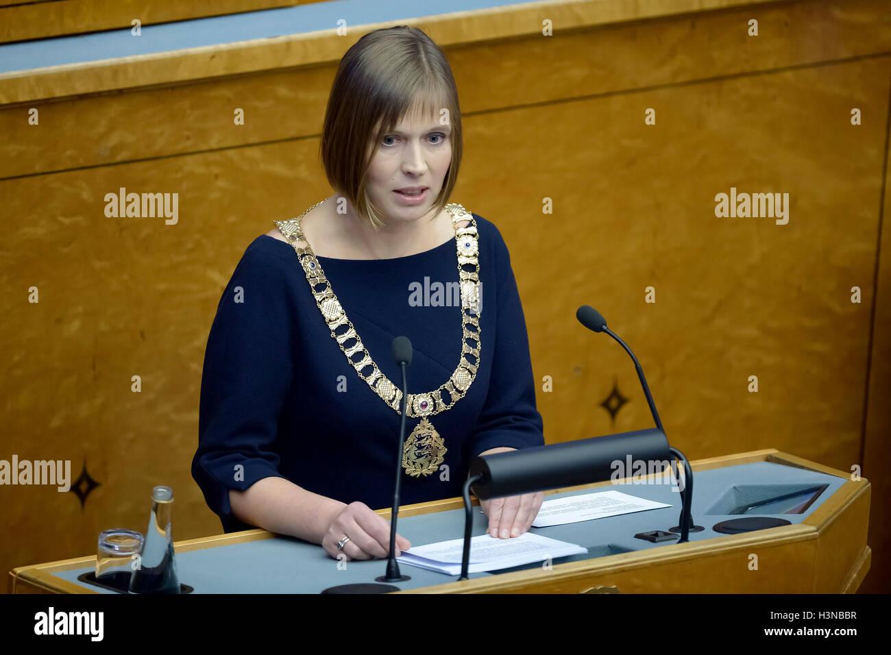 Tallinn, Estonia. 10th Oct, 2016. Estonia's newly-elected President Kersti Kaljulaid delivers her first speech - Stock Image