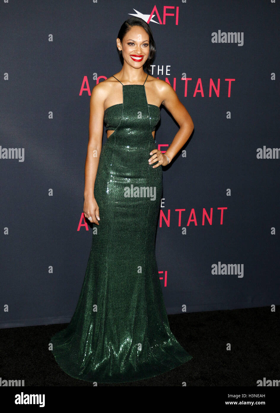 Hollywood, Los Angeles, USA. 10th October, 2016. Cynthia Addai-Robinson at the Los Angeles premiere of 'The Accountant' Stock Photo