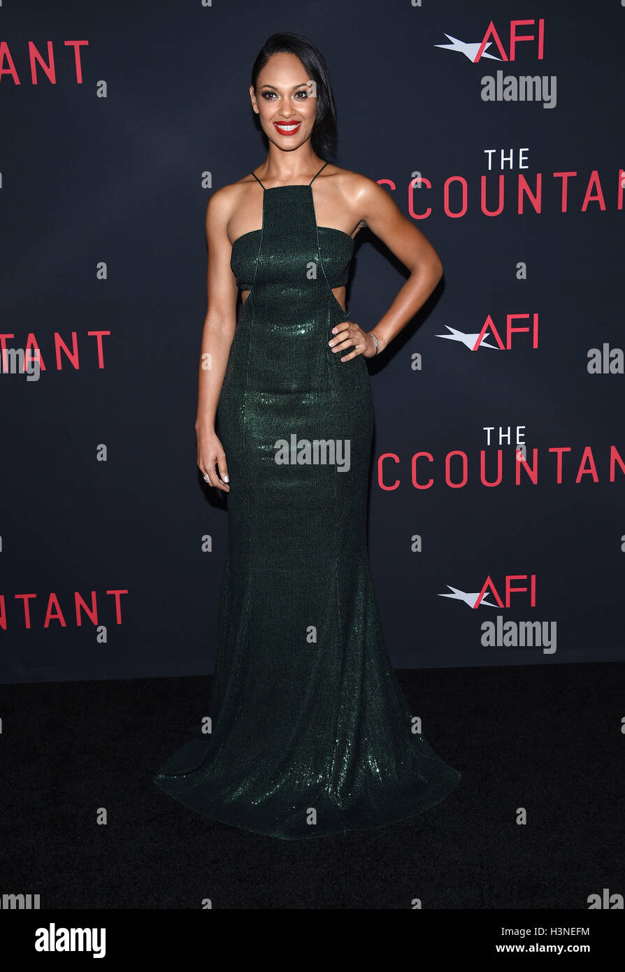 Hollywood, California, USA. 10th Oct, 2016. Cynthia Addai-Robinson arrives for the premiere of the film 'The Accountant' Stock Photo