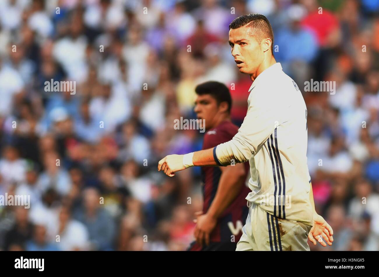 Cristiano Ronaldo (Real Madrid) during the LA LIGA match between Real Madrid and SD Eibar played at Estadio Santiago - Stock Image