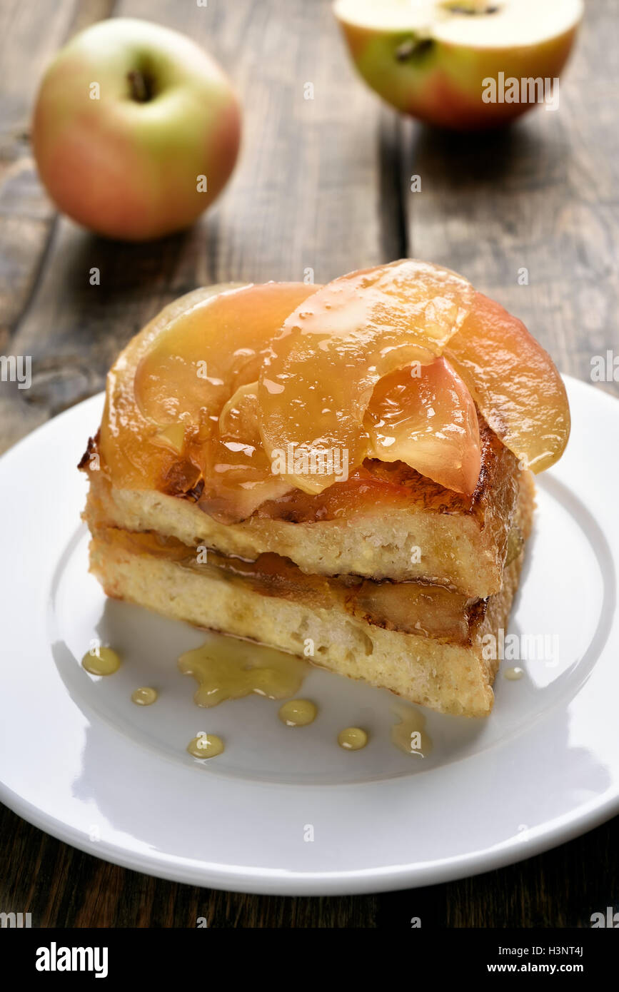 French toast stuffed with caramelized apples - Stock Image