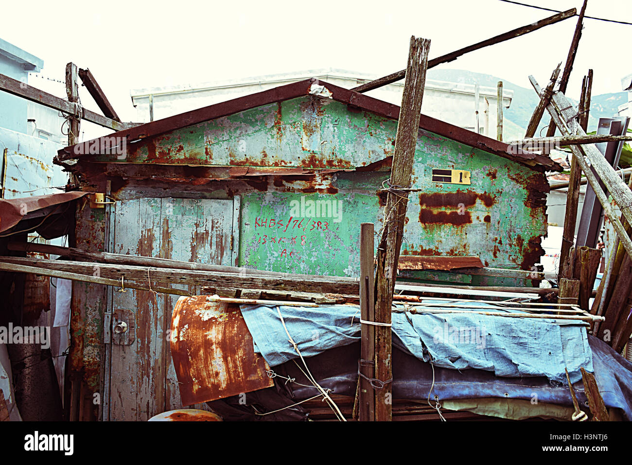 Old rusted house in Tai O fishing village, Lantau island, Hong Kong S.A.R. - Stock Image