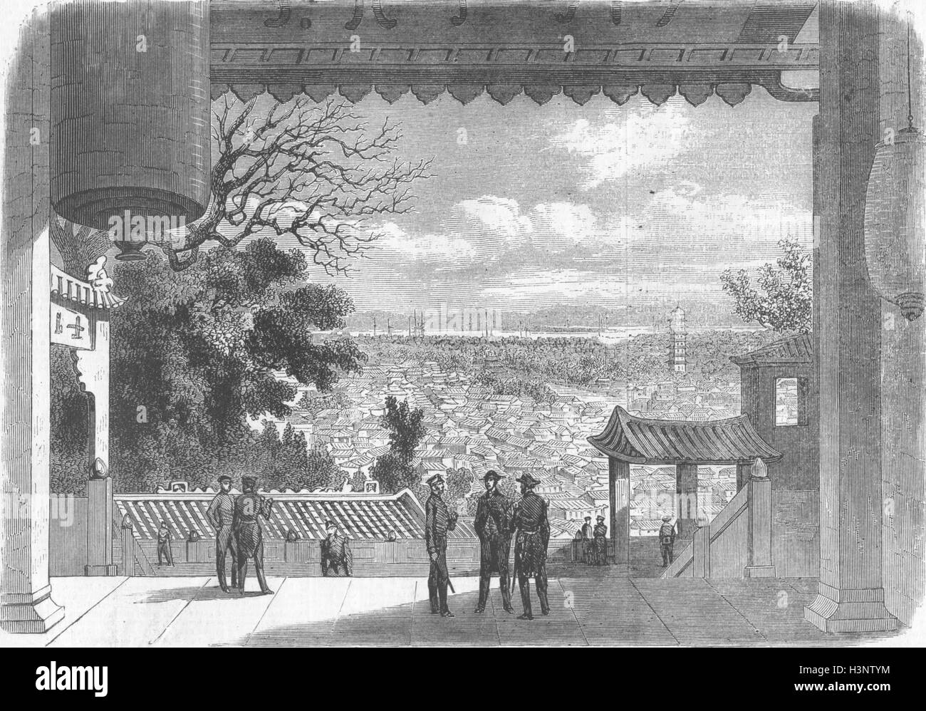 CHINA Canton, HQ of Allies 1858. Illustrated Times - Stock Image