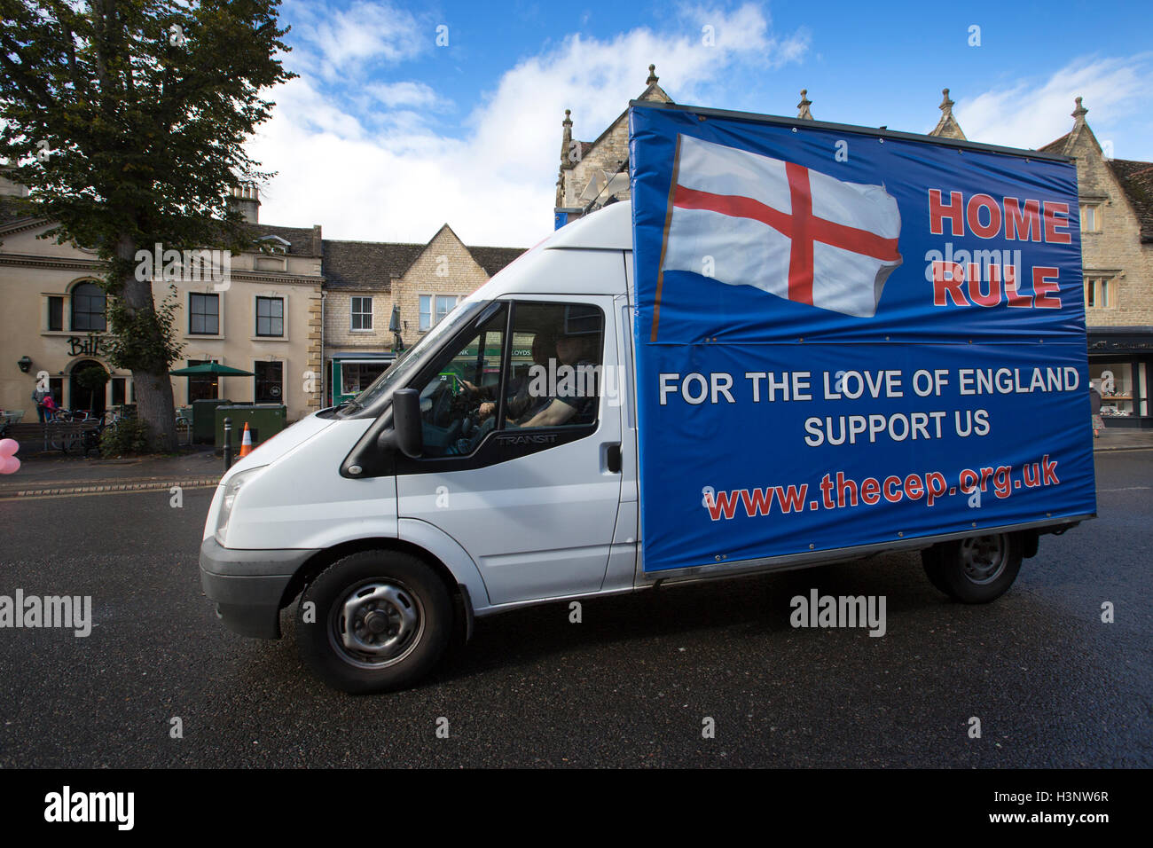 Campaign for an English Parliament campaigning around the streets of Witney ahead of the upcoming by-election, Oxfordshire, - Stock Image