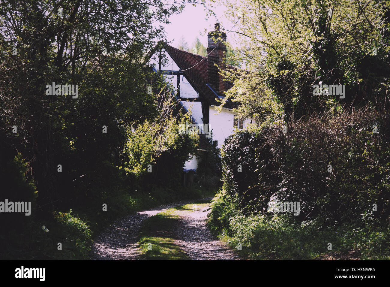 Country cottage at the end of a rural track Vintage Retro Filter. - Stock Image