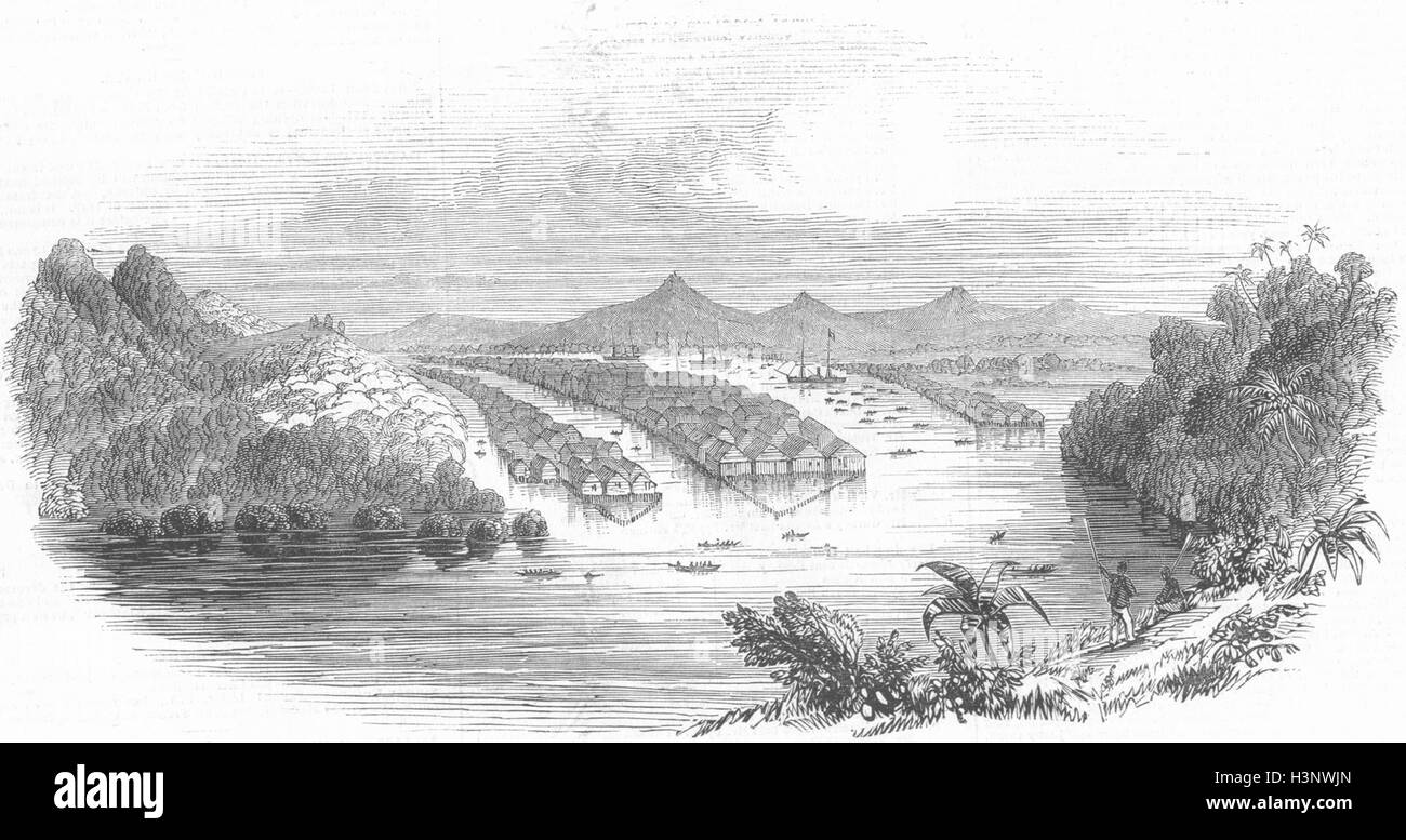 MALAYSIA Brunei or Borneo proper 1845. Illustrated London News - Stock Image