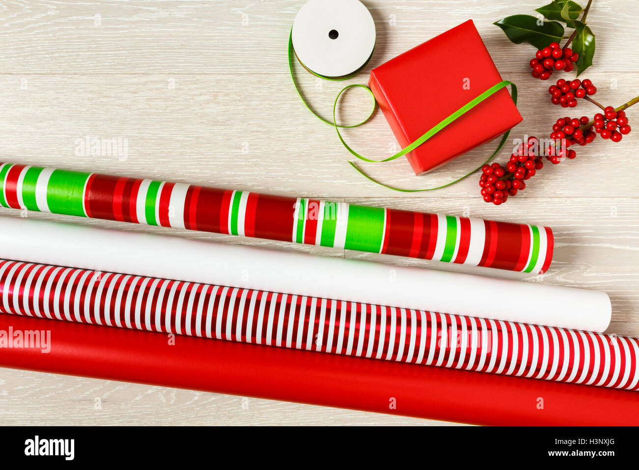 Red and green Christmas gift wrapping supplies wrapping paper, gift ...