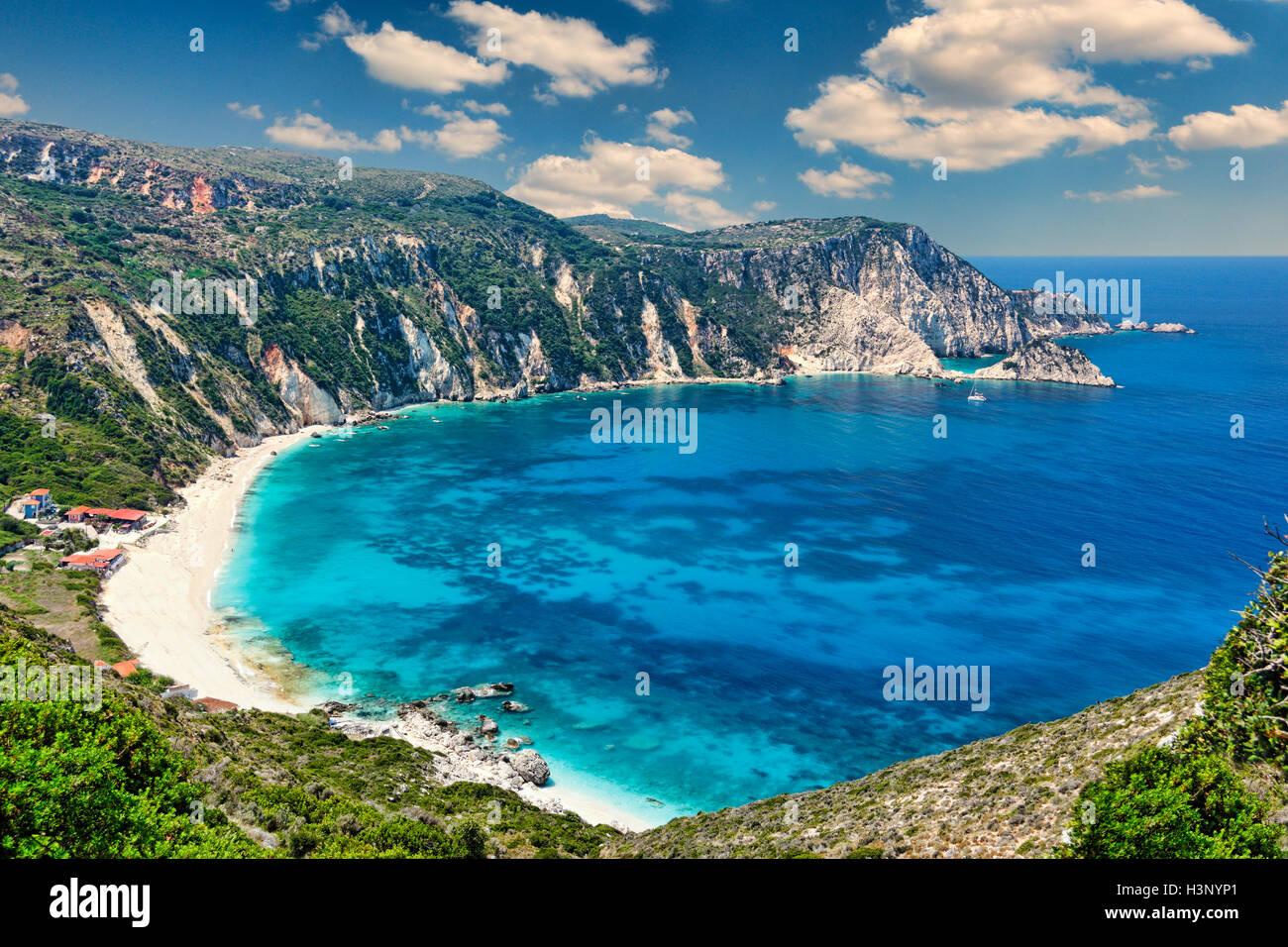 The spectacular beach Petani in Kefalonia island, Greece - Stock Image