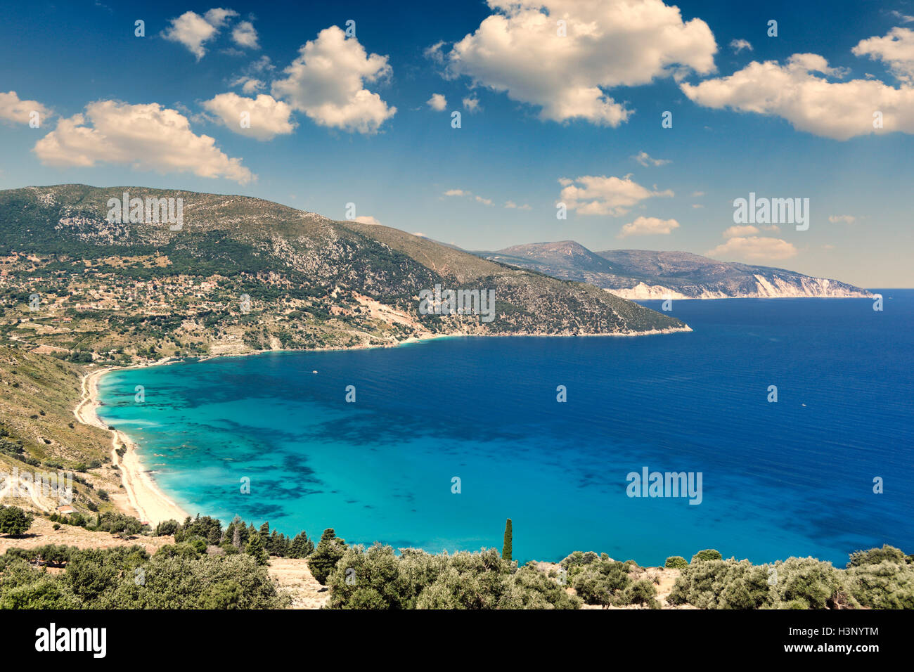 The beach Agia Kyriaki in Kefalonia island, Greece - Stock Image