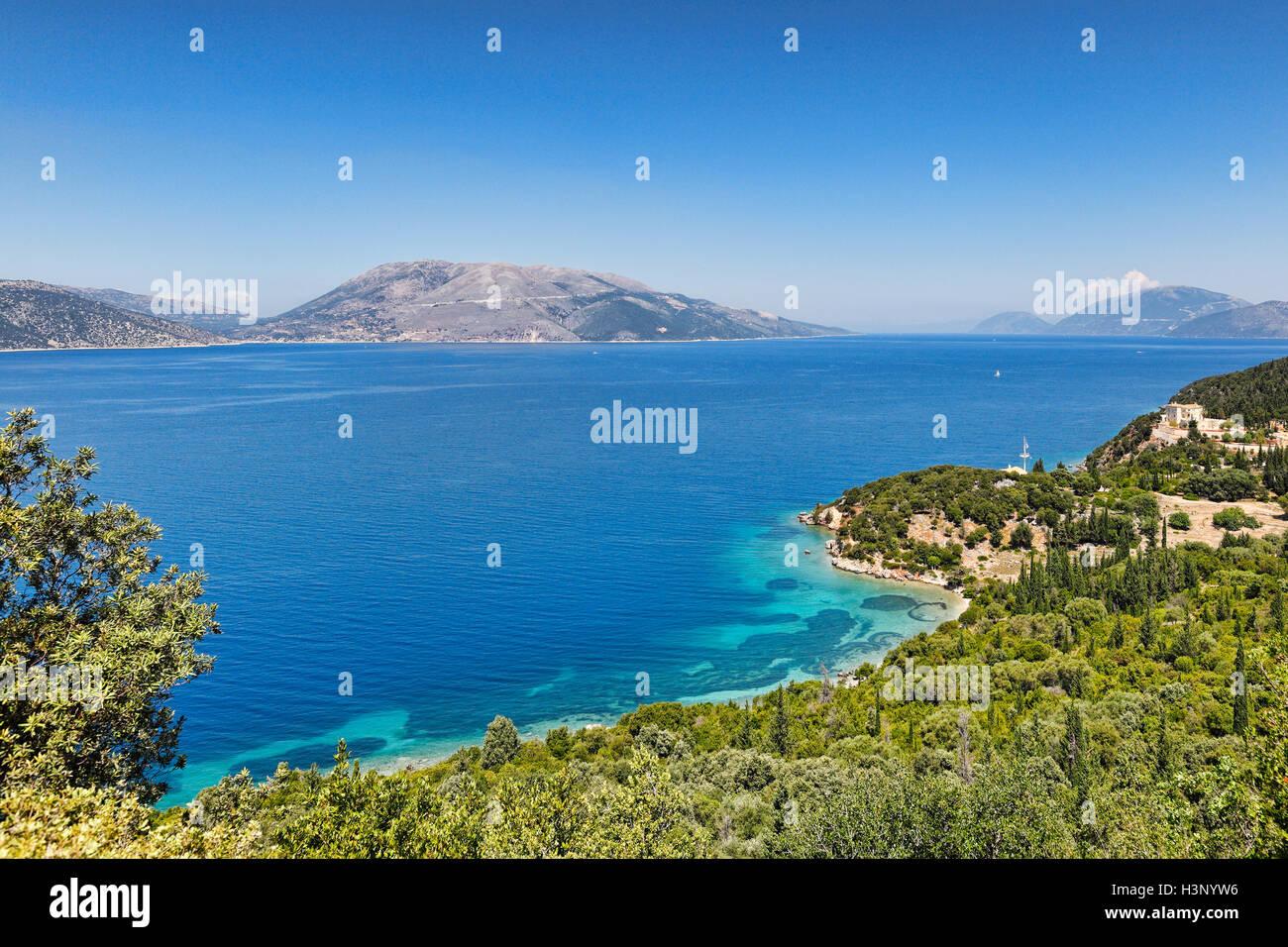 The beach Dichala in Kefalonia island, Greece - Stock Image