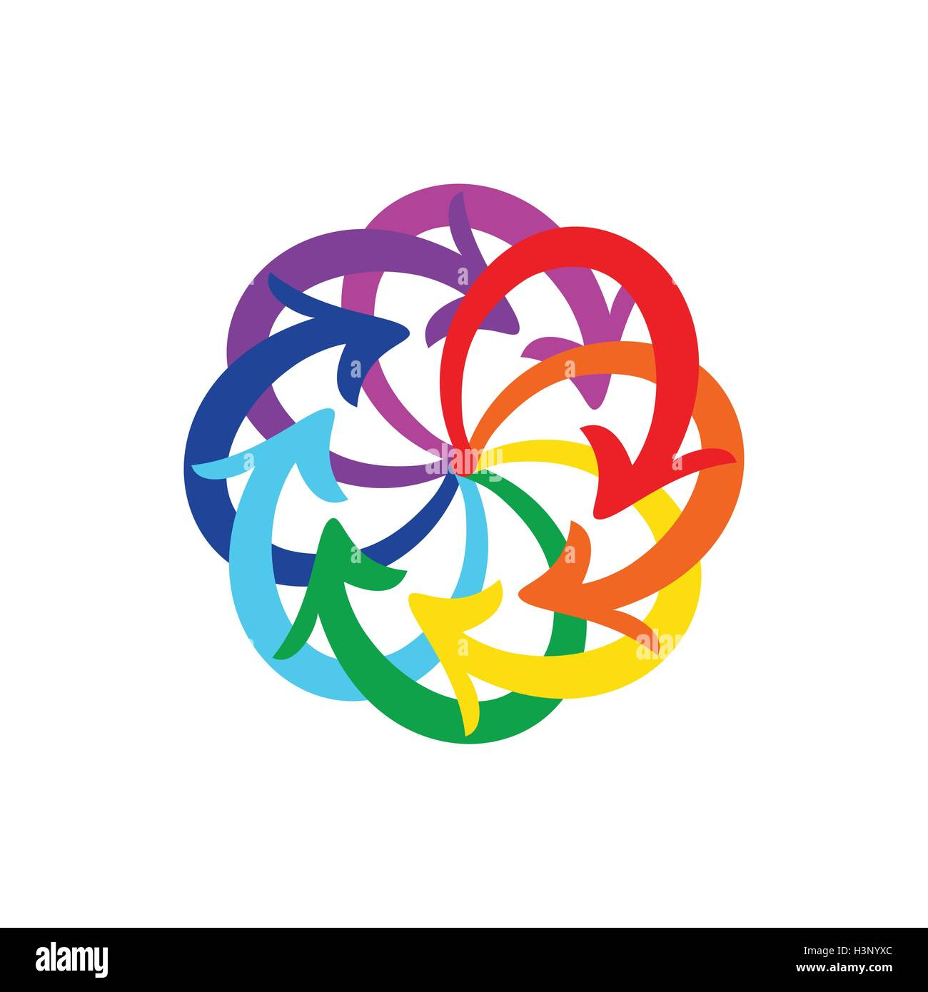 Vector rainbow colors arrows circle diagram on white background Stock Vector