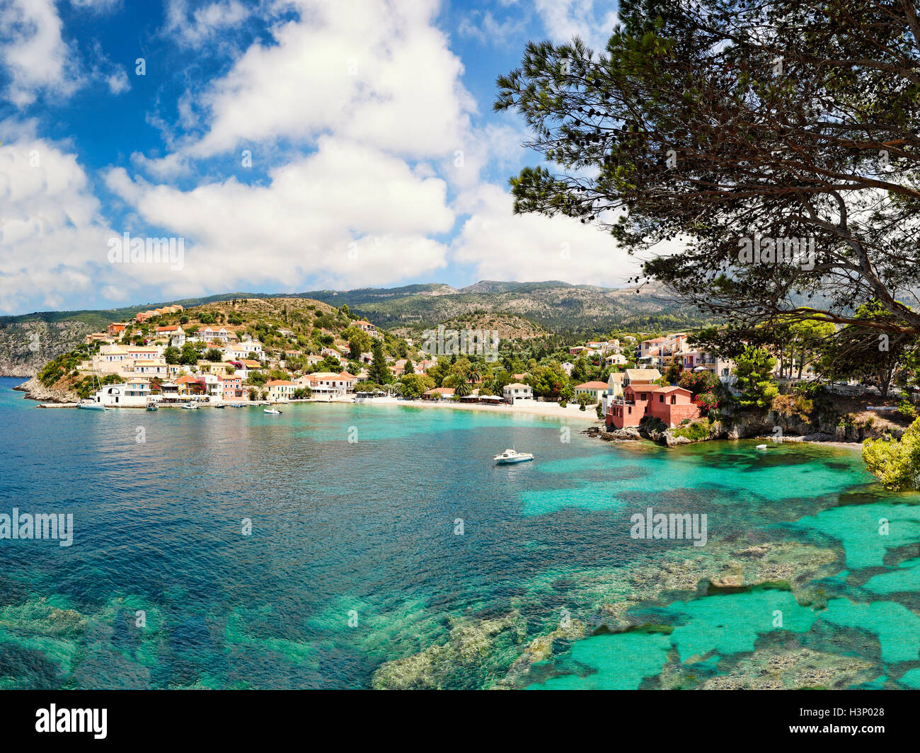 The famous village Assos in Kefalonia island, Greece - Stock Image
