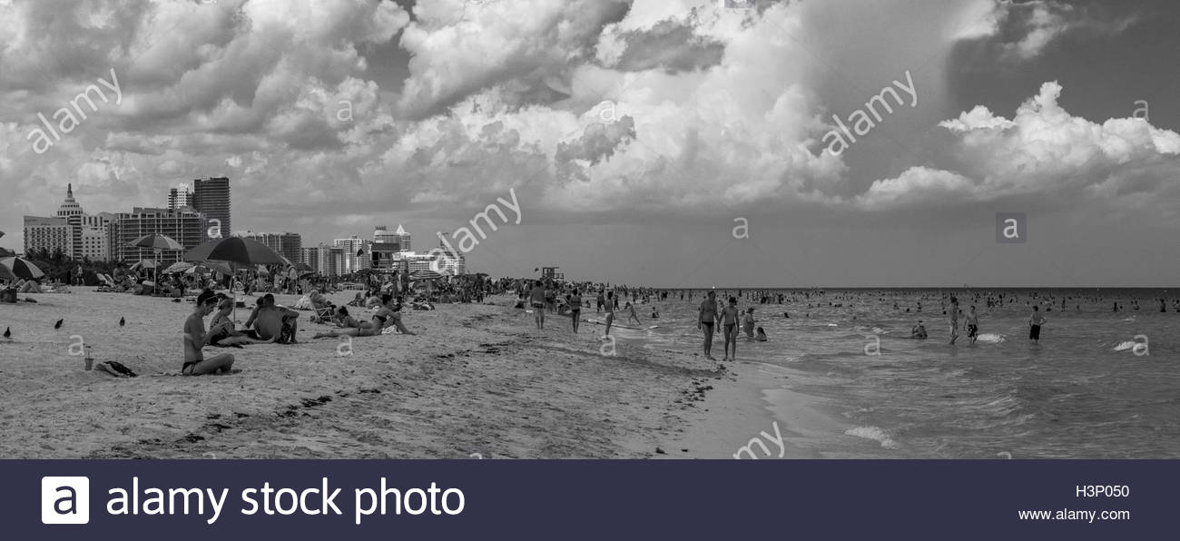 A black and white photograph of South Beach, Miami, Florida. - Stock Image