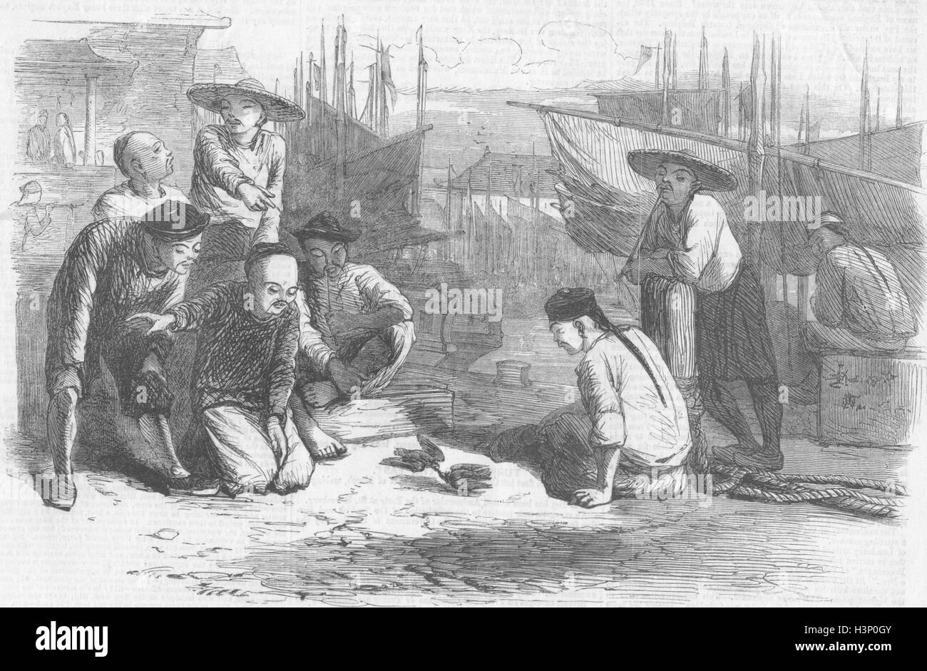 PORTRAITS Canton boatmen fighting quails 1857. Illustrated Times - Stock Image
