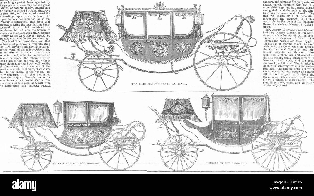 COACHES Mayor state coach; Sheriff cotterell; swift 1851. Illustrated London News - Stock Image