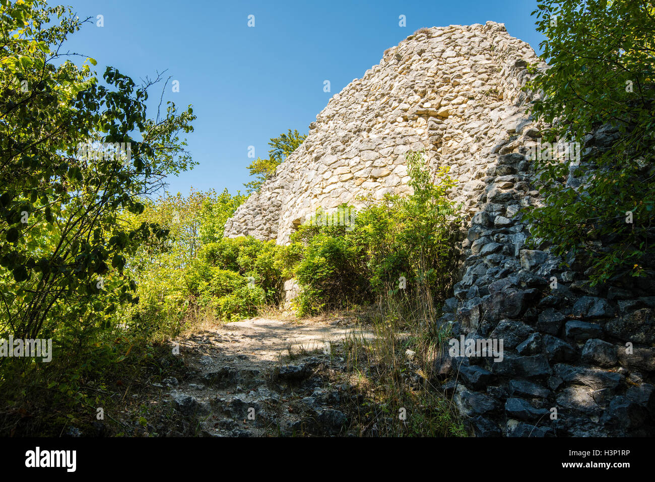 Ruins of castle in Swabian Alb - Stock Image