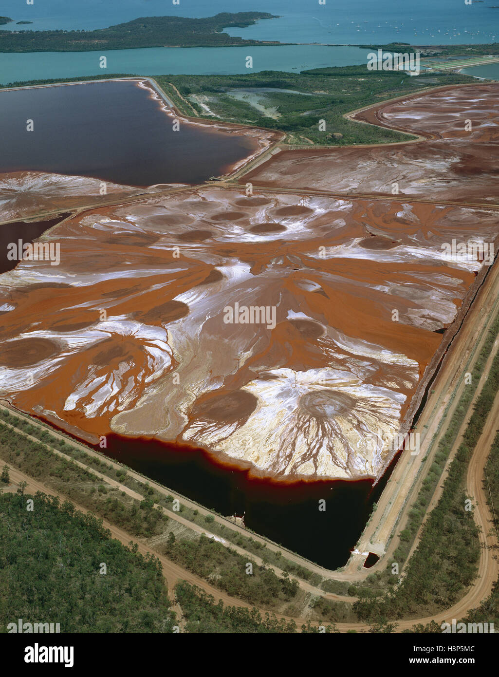 Settlement ponds at bauxite mine, - Stock Image