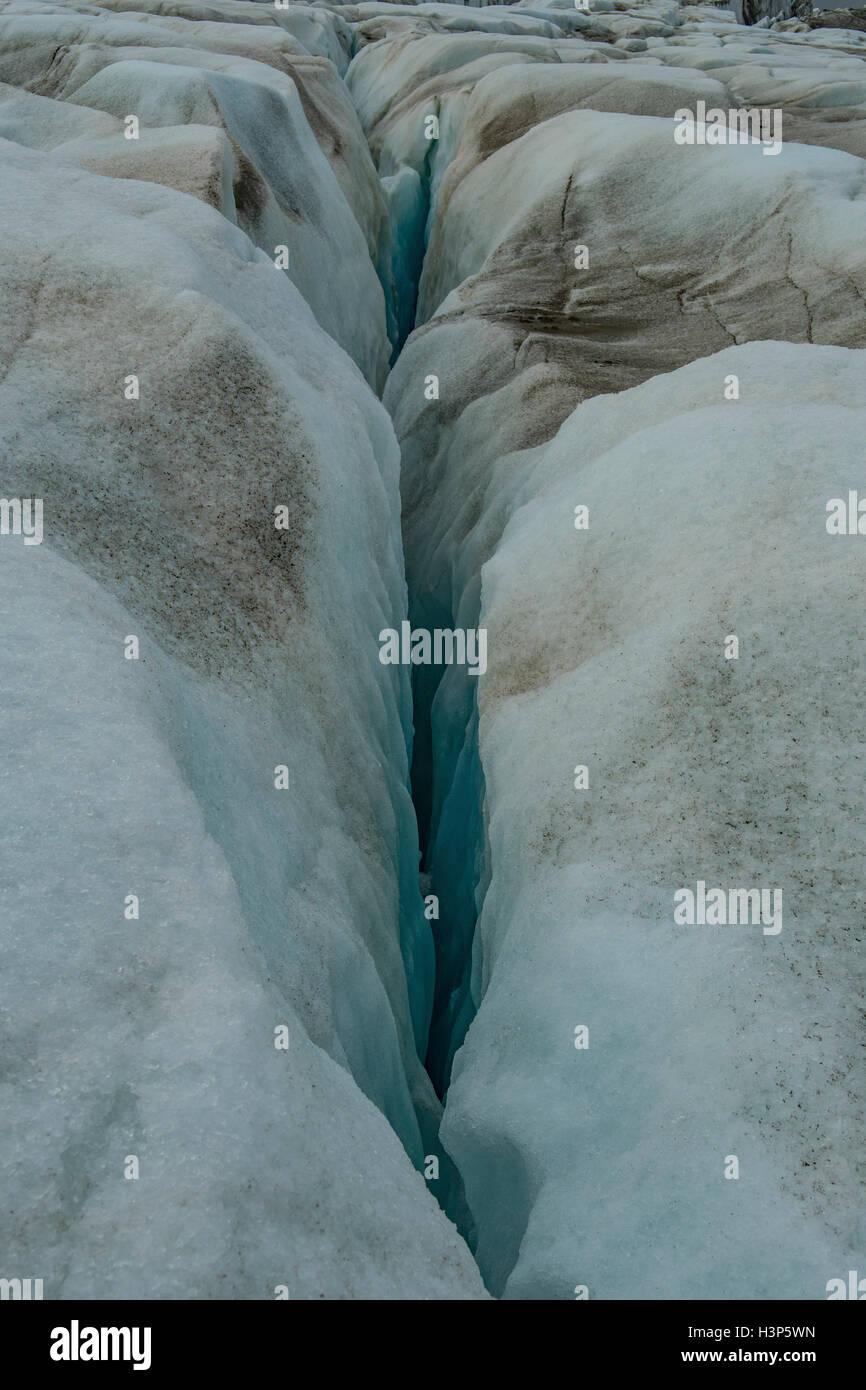 Crevasse in Glacier in Recherchefjorden, Svalbard, Norway - Stock Image