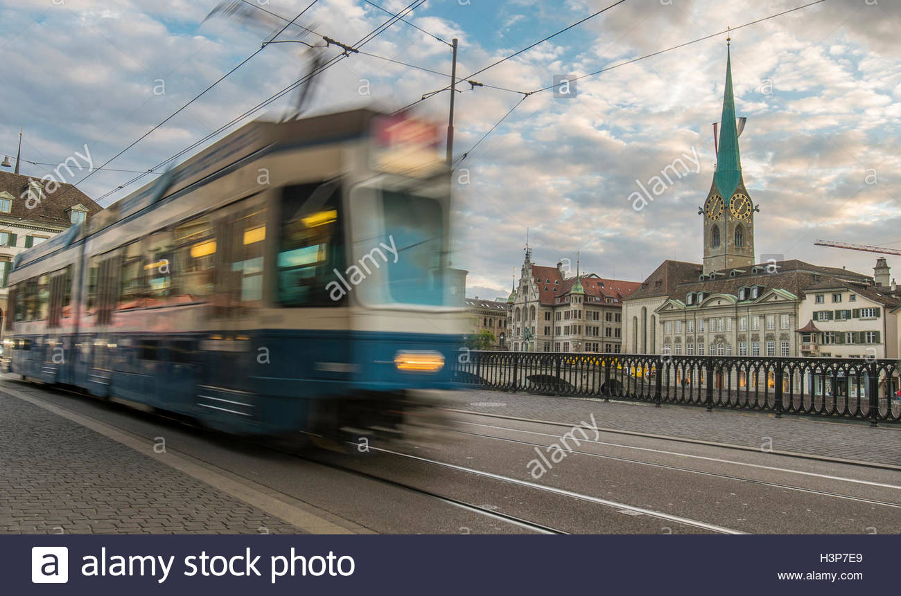 Blurred motion of a tram. - Stock Image