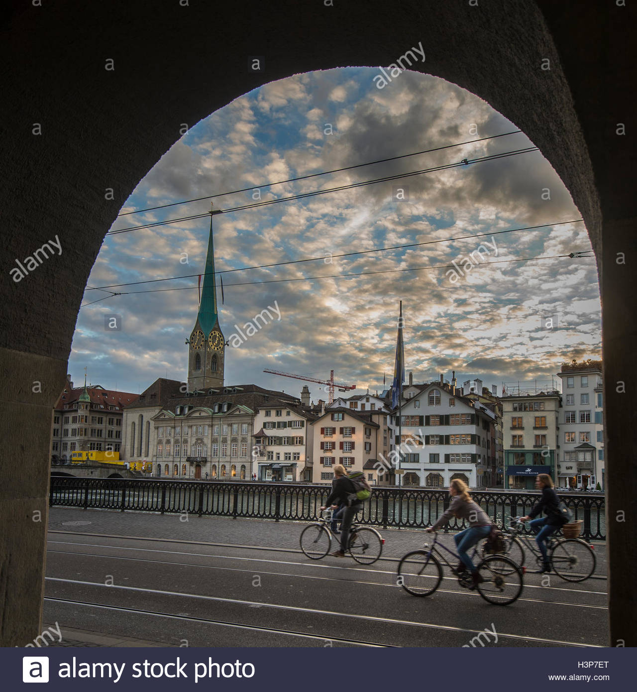 Cyclists on the move in Zurich. - Stock Image