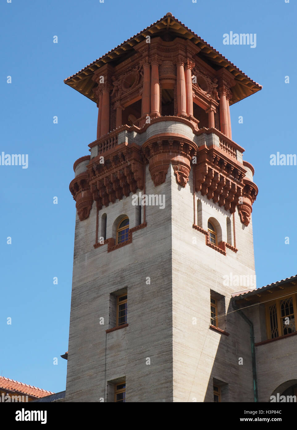 A tower for the Lightner Museum in St. Augustine Florida.  The building was built in 1887 and is Spanish Renaissance - Stock Image