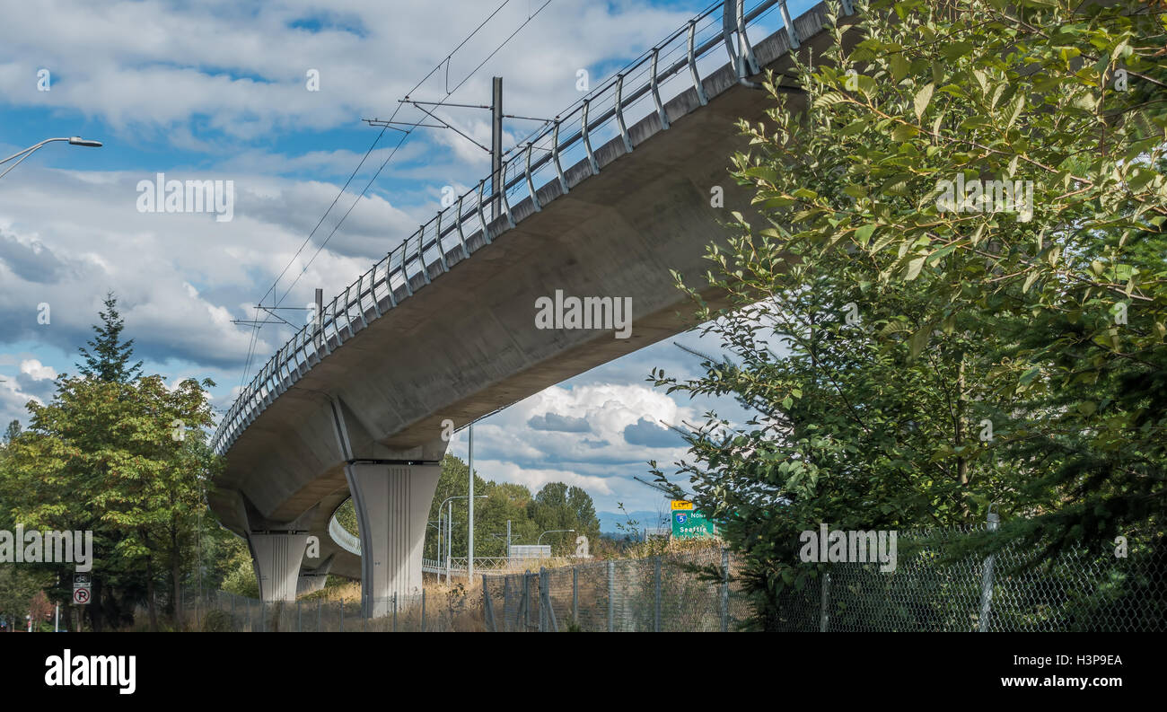 View from underneath the light rail track near Seatac Airport. - Stock Image