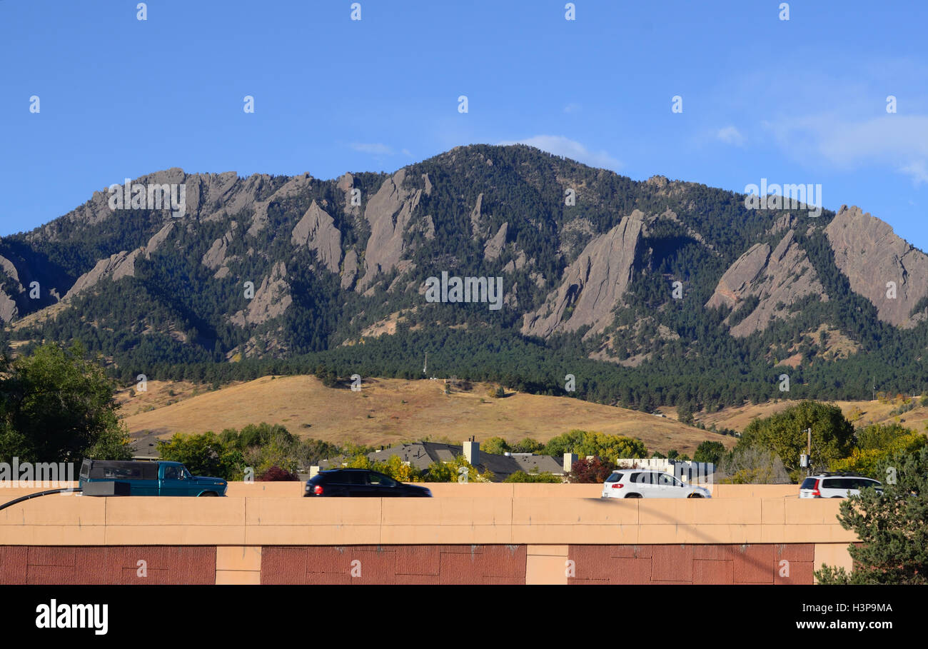 A view of Green Mountain and the northern Flatirons over U.S. 36 coming into Boulder from Denver and Denver's - Stock Image