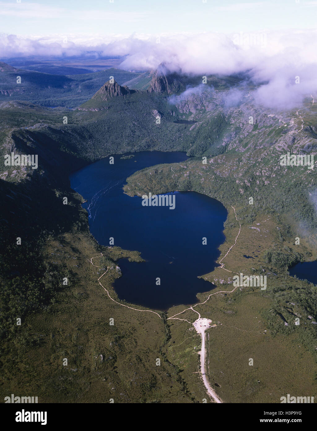 Cradle Mountain and Lake Dove from the air - Stock Image