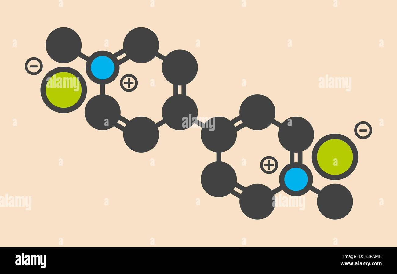 Paraquat herbicide molecule Stylized skeletal formula (chemical structure). Atoms are shown as color-coded circles: - Stock Image
