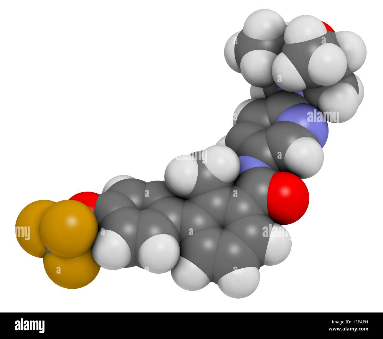 Sonidegib cancer drug molecule. Atoms are represented as spheres with conventional colour coding: hydrogen (white), - Stock Image
