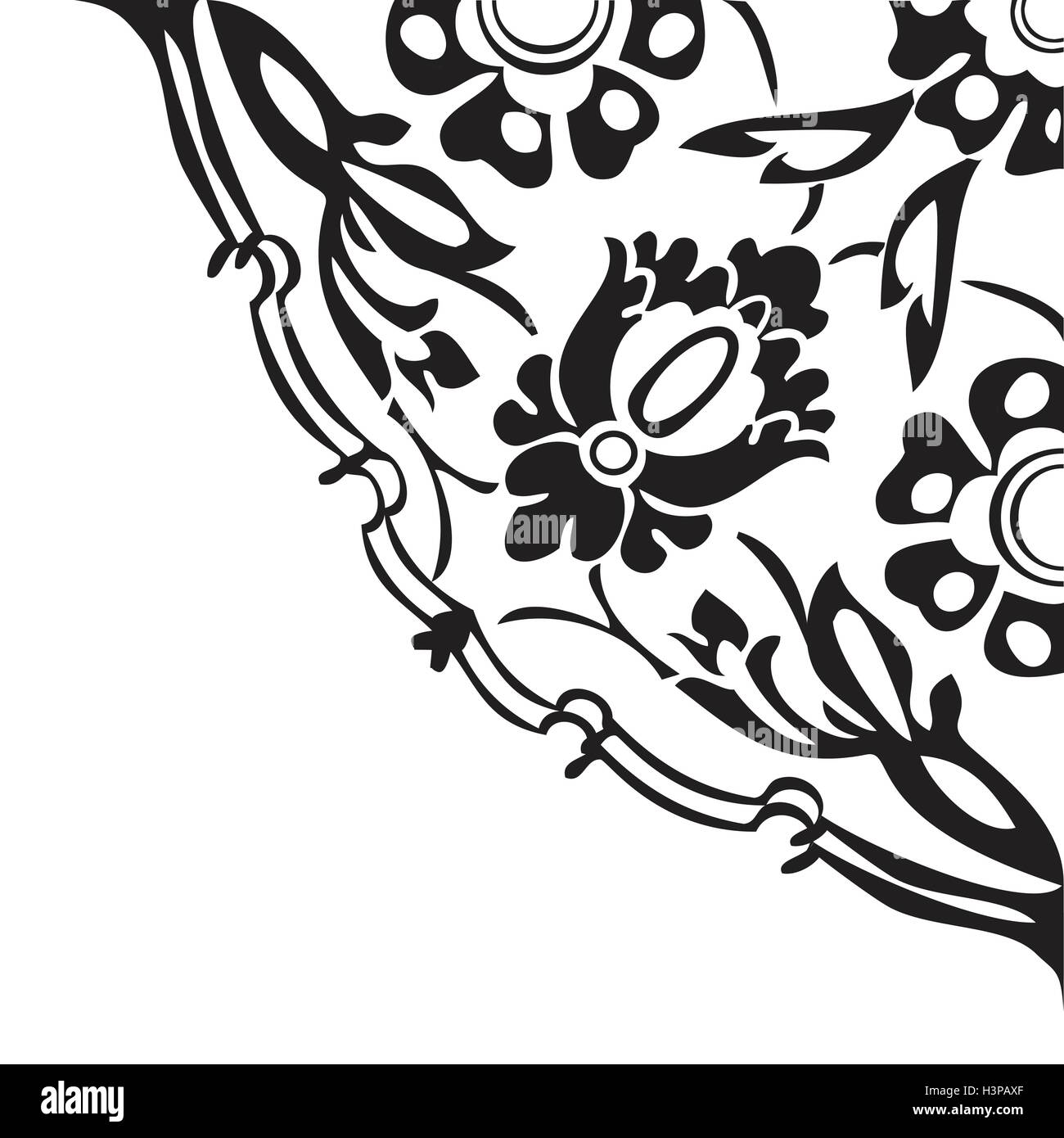 Black And White Round Floral Border Corner Abstract Background