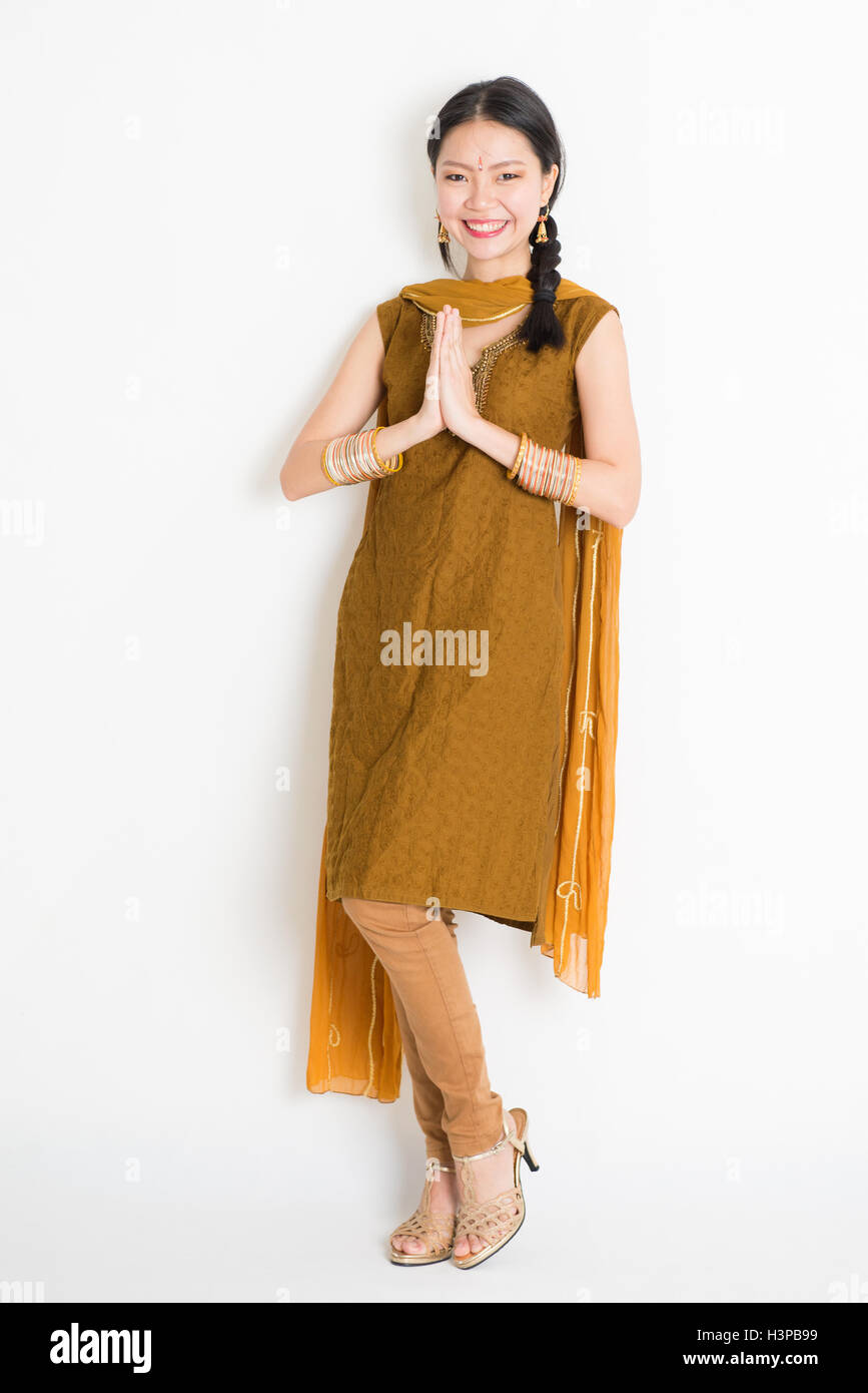 Traditional Costume Traditional Indian Greeting Stock Photos